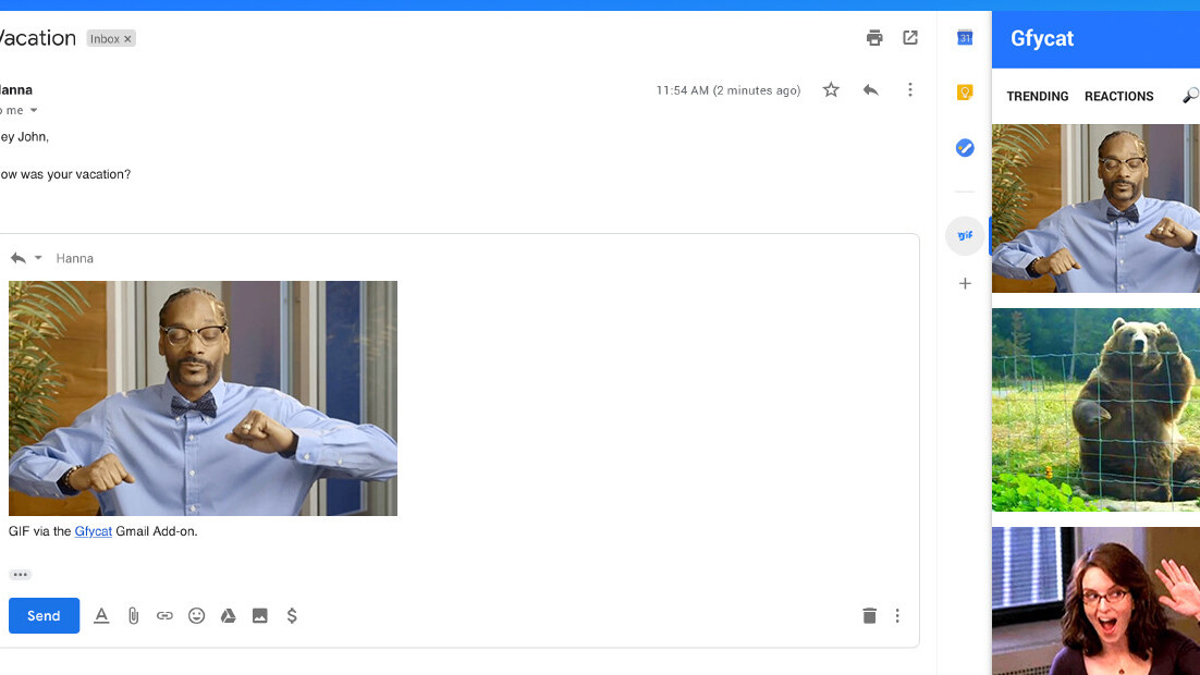 Gfycat makes it dead-simple to drop GIFs into your Gmail replies