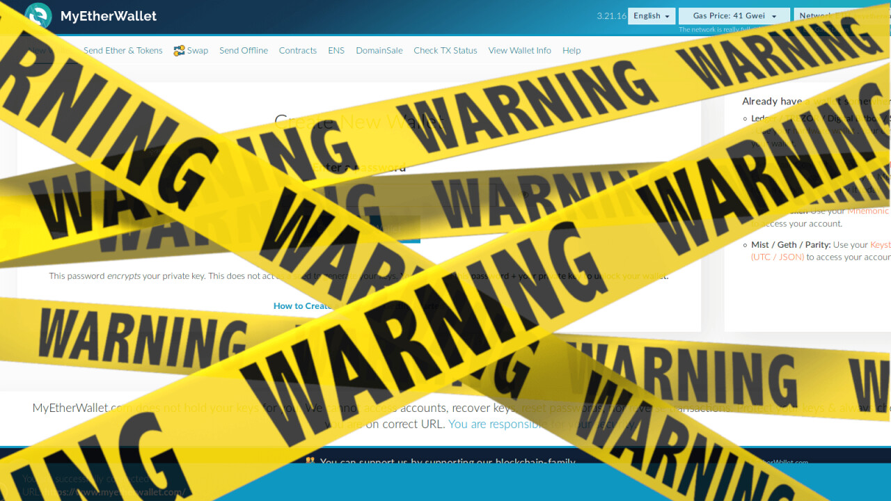 PSA: MyEtherWallet compromised in hack, urges users to move tokens now