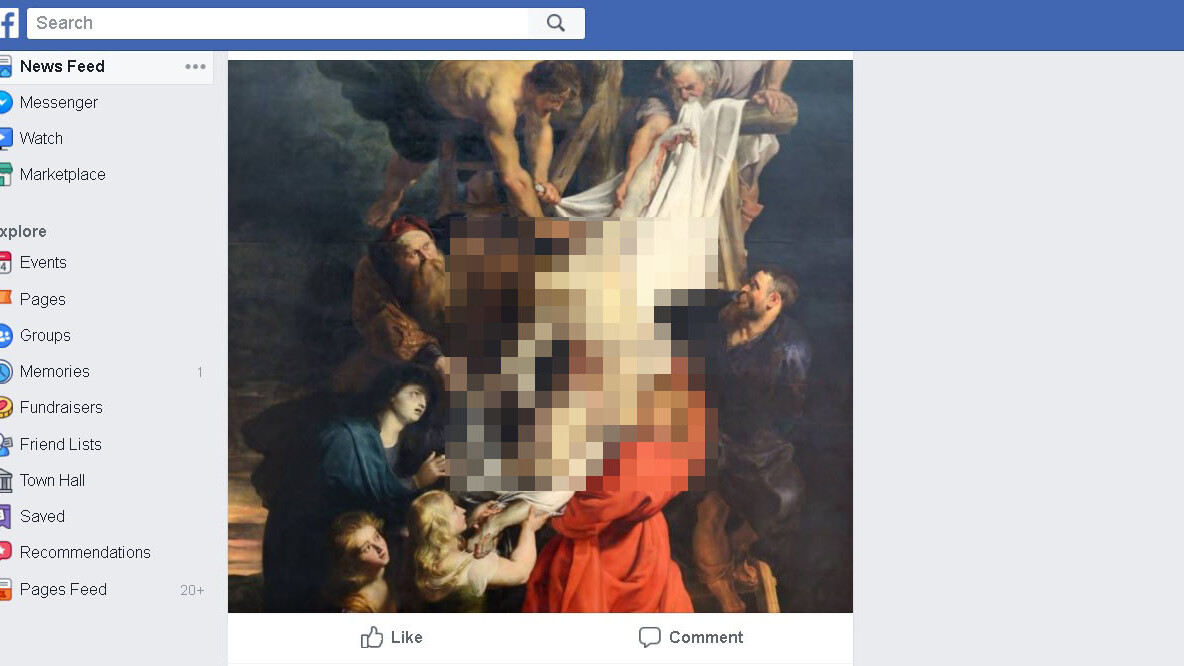 Not even shirtless Jesus gets a pass on Facebook's anti-nudity policy