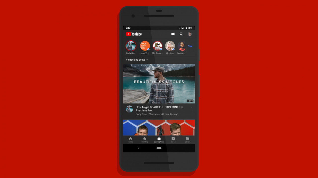 YouTube's Android app is finally getting a dark theme