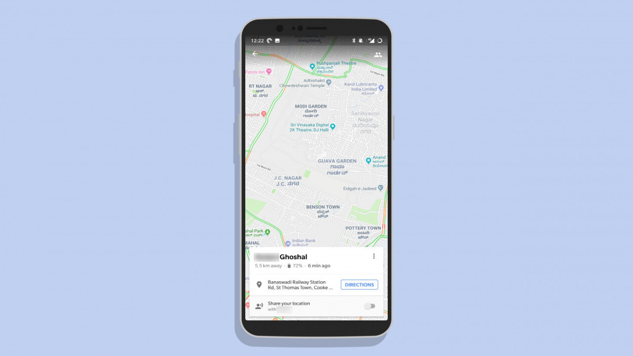 Google Maps' location sharing feature now tells your mates if your battery's dying