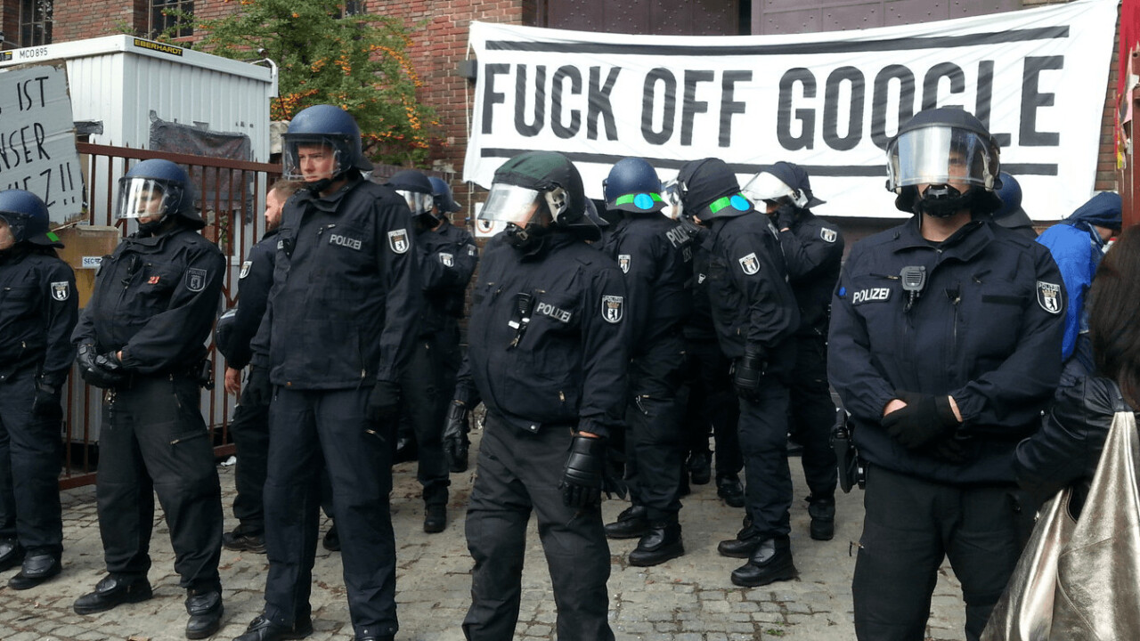 German protesters clash with police over proposed Google campus