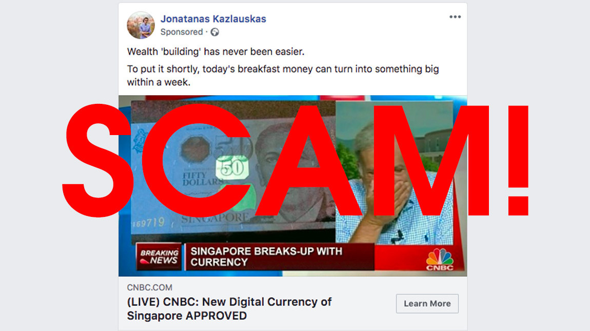 Scammers target Facebook users with sponsored ads for fake cryptocurrencies