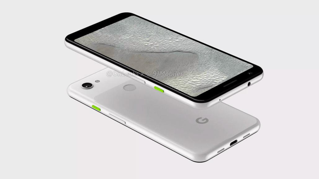 Pixel 3 Lite XL renders show a headphone jack and no notch