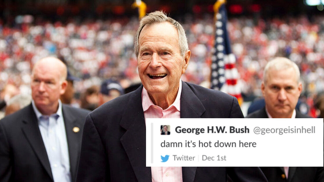 Twitter suspended someone for tweeting as George Bush Sr. in hell