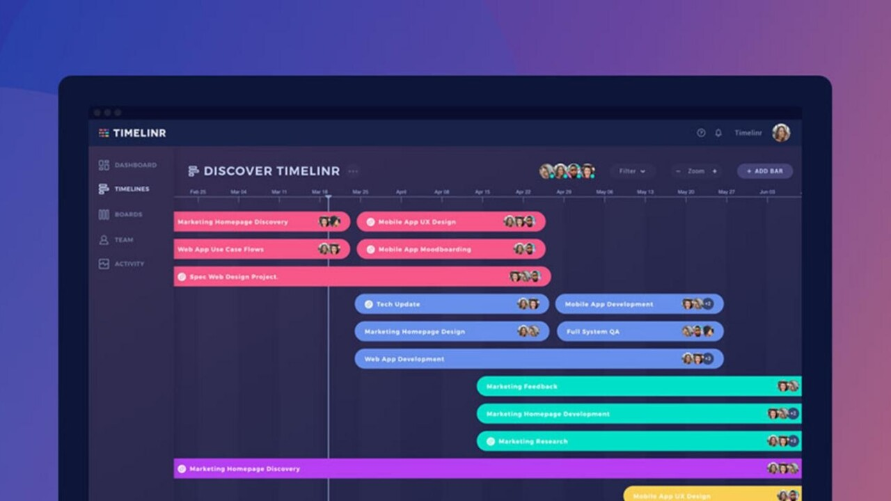 Timelinr is $50 project mapping tool to help complete tasks on time