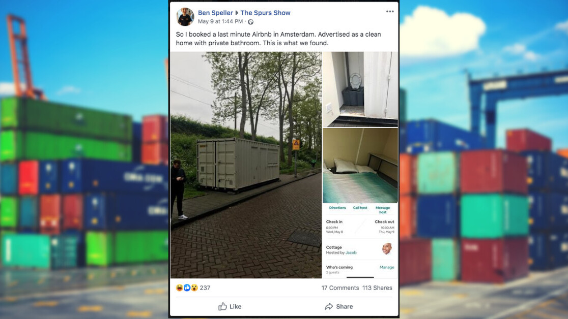 Airbnbeware: Amsterdam tourists got a dirty shipping container instead of €134 'clean home'