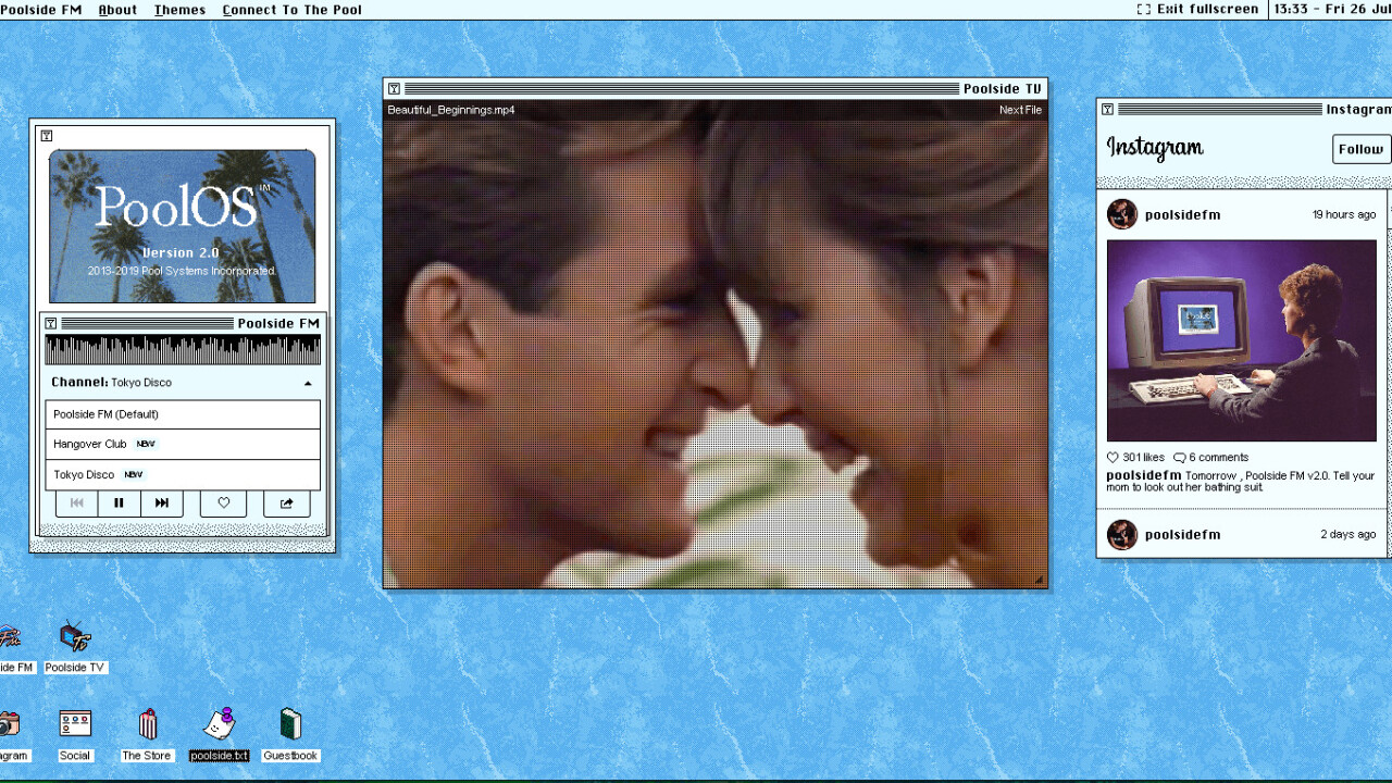 This retro-styled OS is actually a delightful feed of 90s-inspired tunes and videos