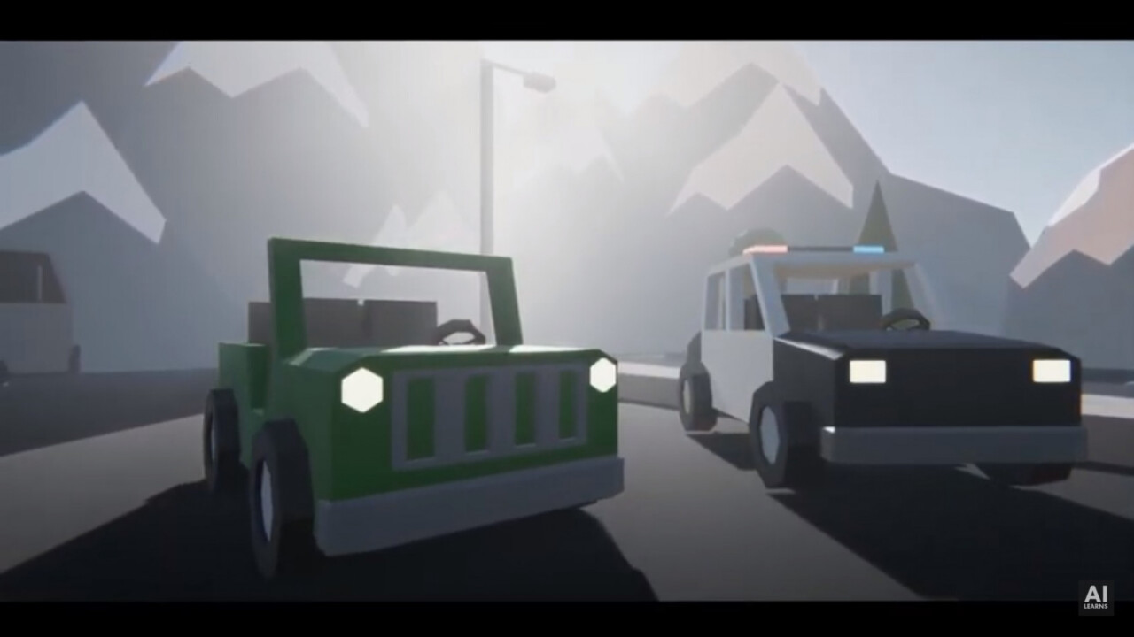 Watch this AI cop car fight an AI Jeep