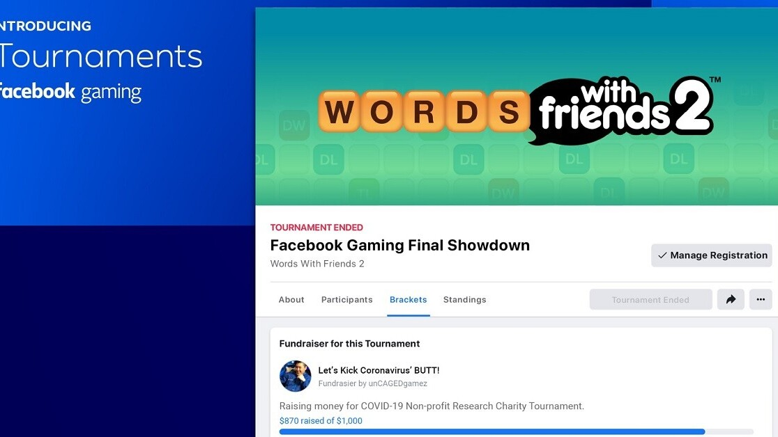 Facebook Gaming launches Tournaments as part of its social distancing campaign