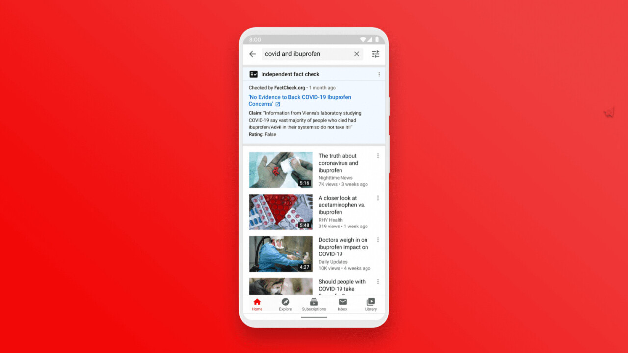 YouTube begins fact-checking searches in the US