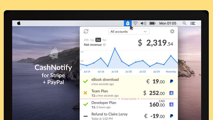 Entrepreneurs get immediate PayPal and Stripe payment notifications with CashNotify
