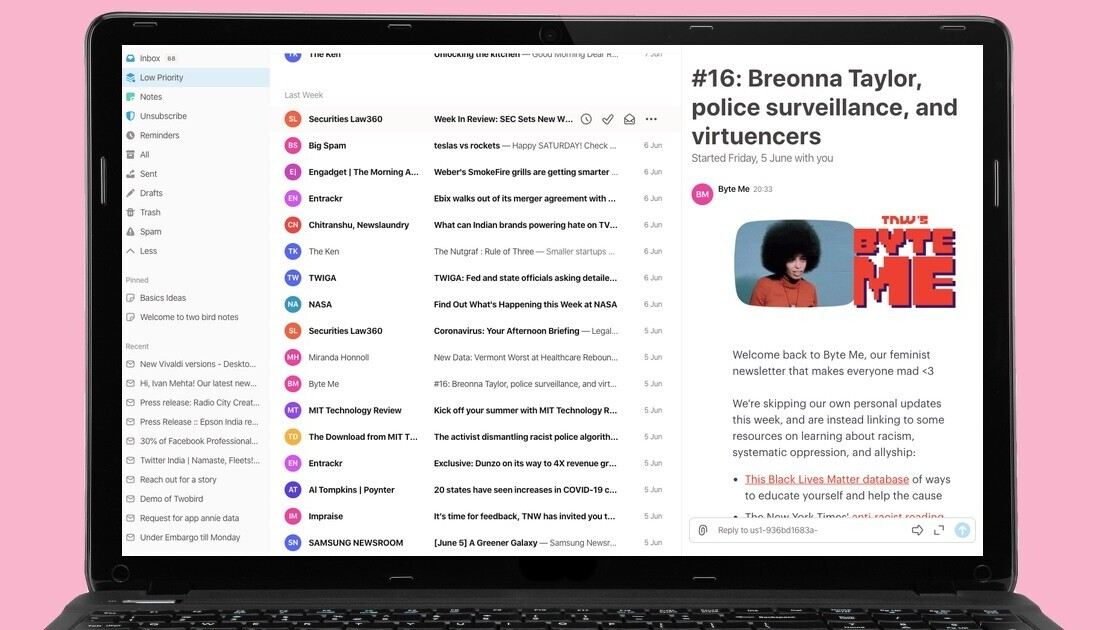 Twobird is a great free email client with collaborative notes