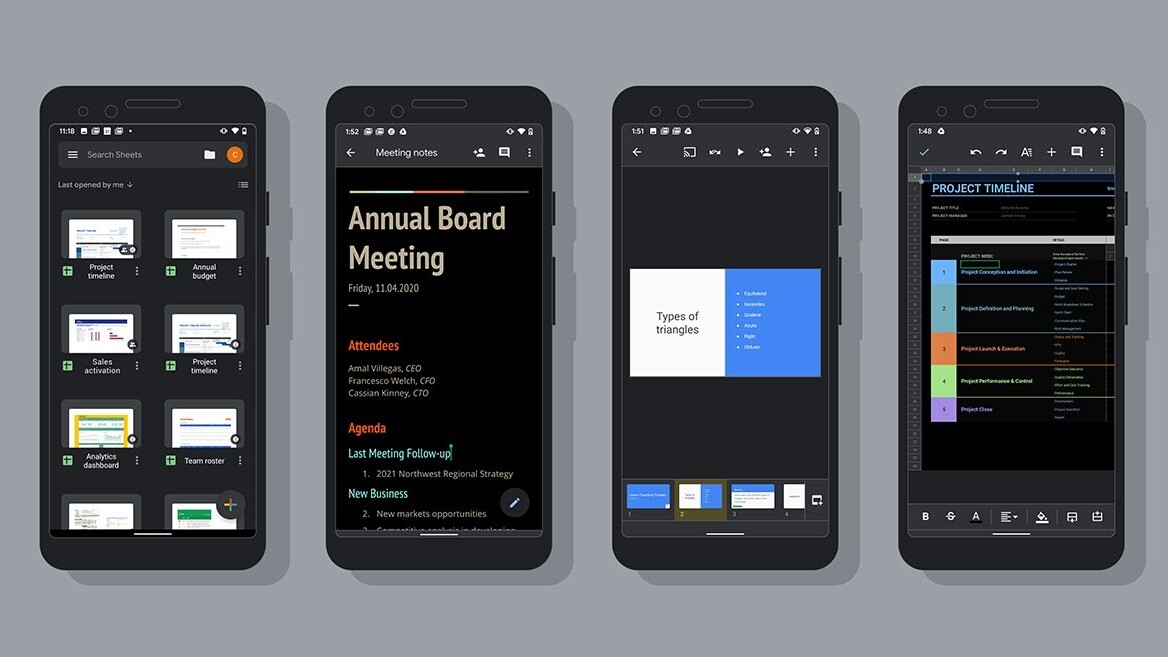 Google finally rolls out dark mode for Docs, Sheets, and Slides on Android