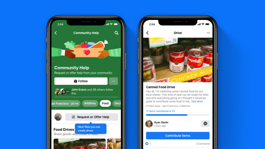 Facebook's new 'Drives' help collect food and clothing for people in need