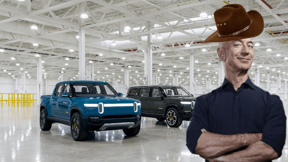 Watch Jeff Bezos drive a Rivian R1T through the desert while wearing a cowboy hat