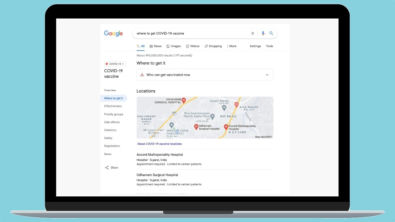 How to use Google search to find the nearest vaccination center in India