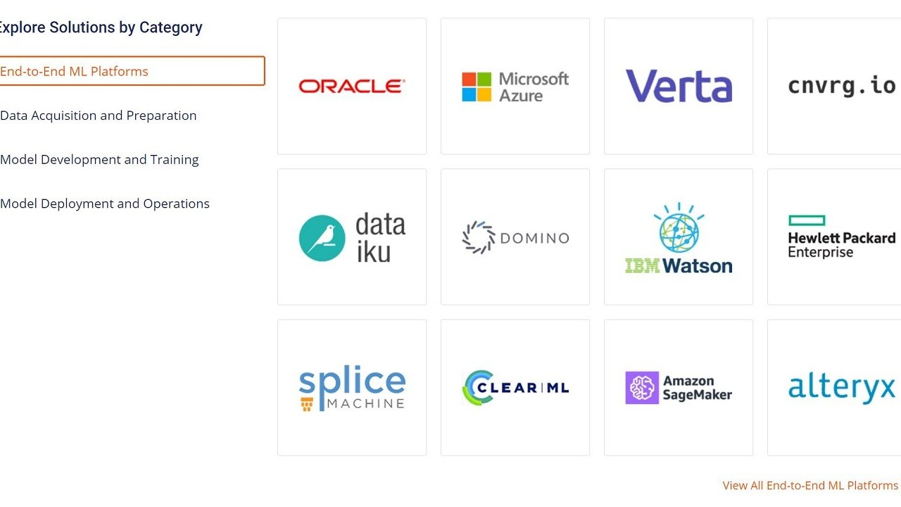 This nifty online guide compares AI/ML tools and platforms