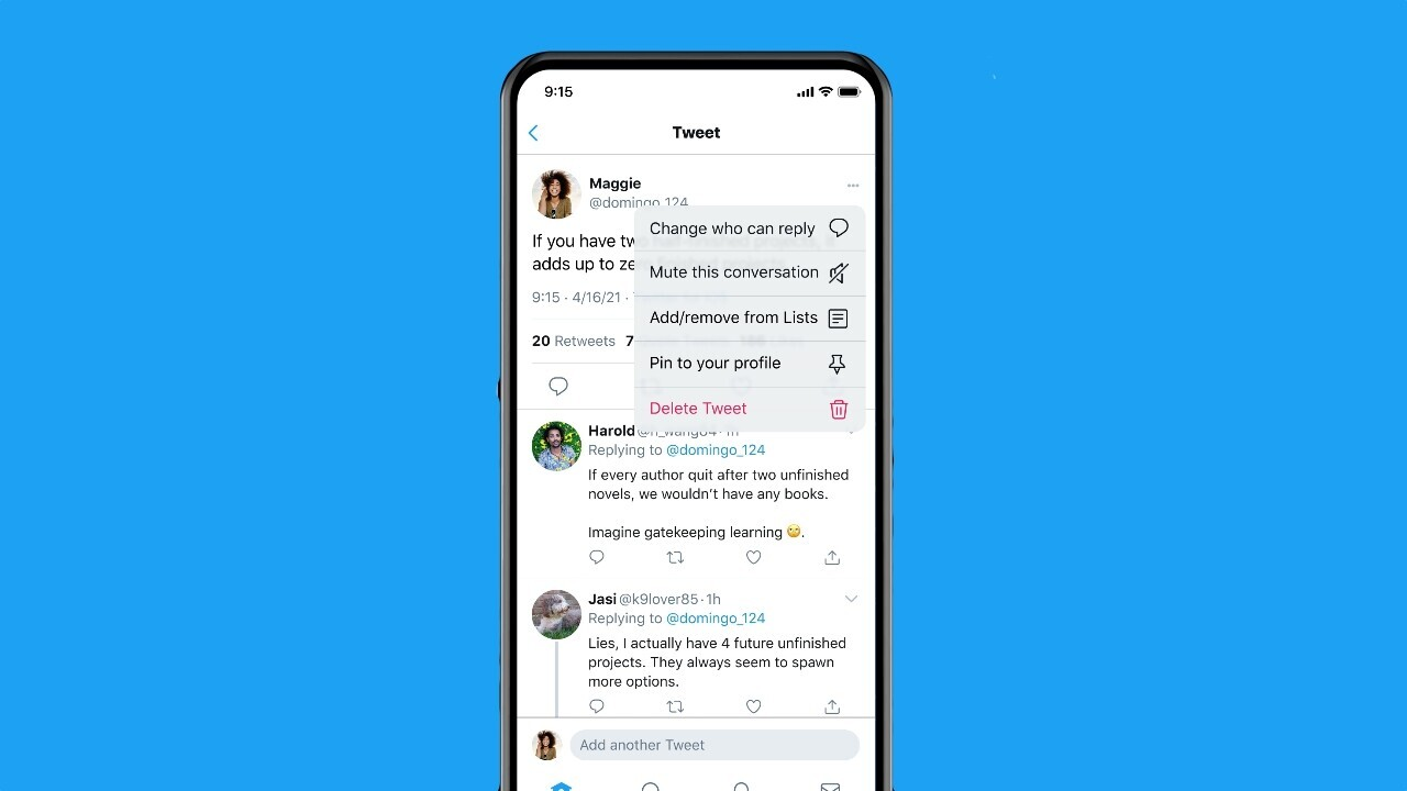 Twitter will now let you limit replies to a tweet after you've posted it