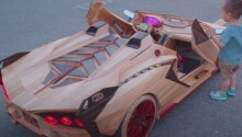 Watch awesome dad build electric wooden Lamborghini for his son