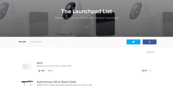 Amazon Launchpad hypes up curated shopping list with a 'Featured on Product Hunt' badge