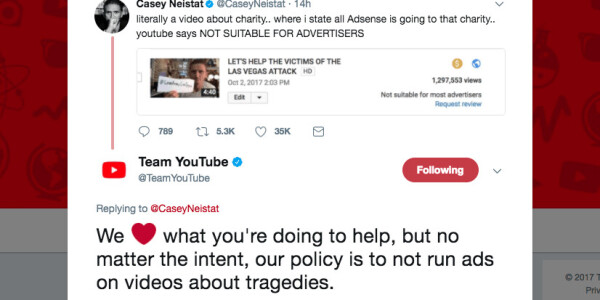 YouTube pulls ads from Casey Neistat video raising funds for the Las Vegas victims