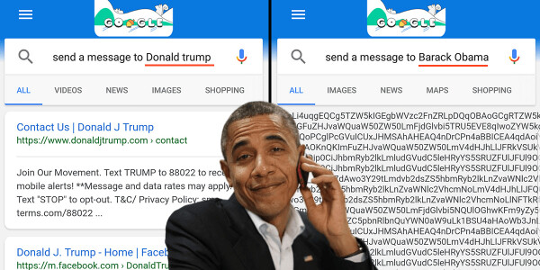 Google doesn't want you to 'send a message to Barack Obama'