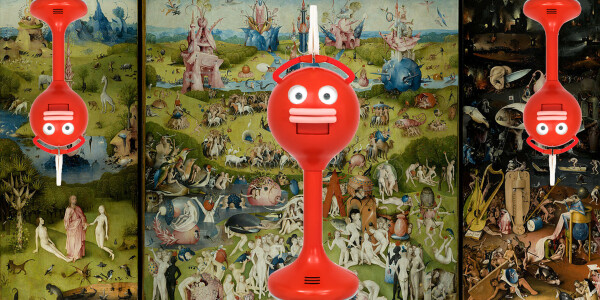 All this hellish red robot wants to do is clap at you
