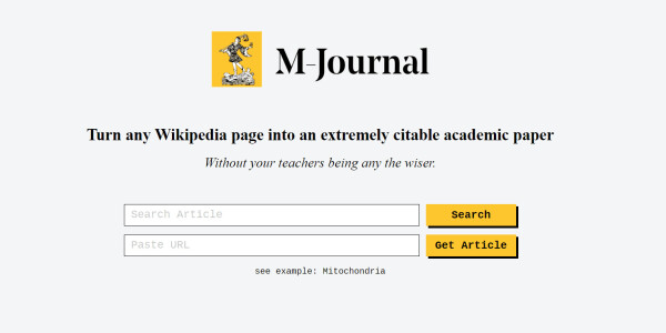 This site turns Wikipedia pages into 'legit' academic papers