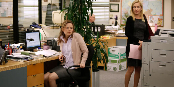 Pam and Angela from The Office are re-watching the show for their new podcast