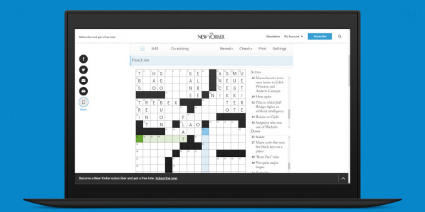The New Yorker's crossword now has a co-op mode and it's bloody addictive