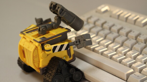 wall-e robot typing