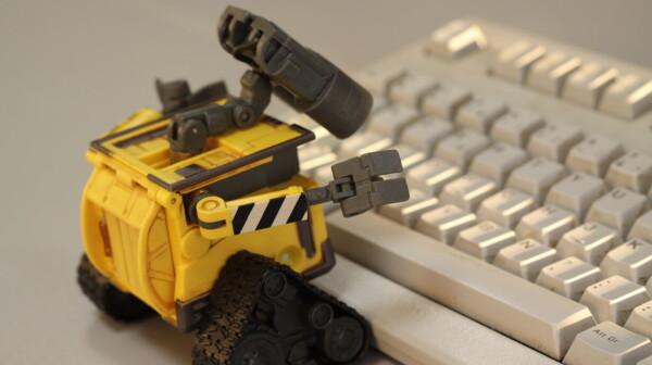 wall-e robot typing