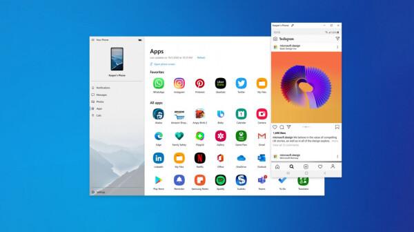 Windows Your Phone app Microsoft Samsung