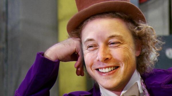 Elon Musk candy Wonka hed