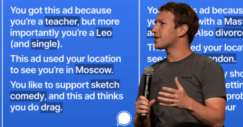 Signal's smartass ad exposes Facebook's creepy data collection